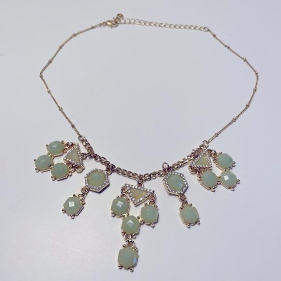 LC LAUREN CONRAD Green/Gold Statement Necklace